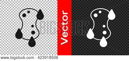 Black Sponge Icon Isolated On Transparent Background. Wisp Of Bast For Washing Dishes. Cleaning Serv