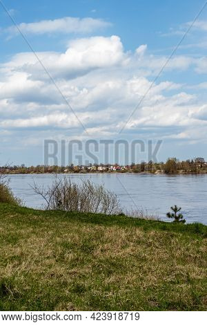 Vertical Photo Of River Bank Of Daugava During Early Spring. Green Grass And Leafless Bushes Front O