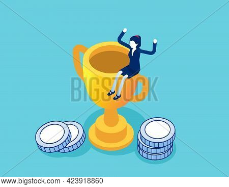 Leader Success For Business. Flat Isometric Vector Illustration Of Success