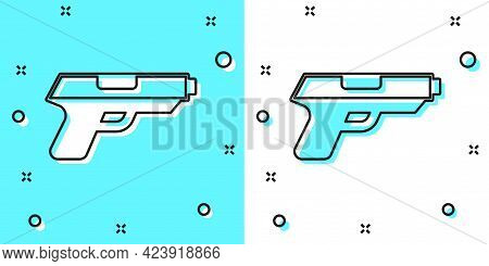 Black Line Pistol Or Gun Icon Isolated On Green And White Background. Police Or Military Handgun. Sm