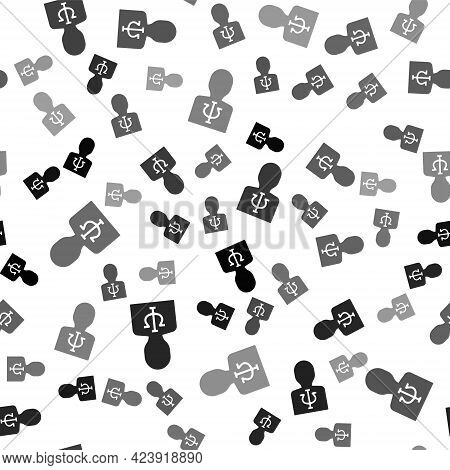 Black Psychology Icon Isolated Seamless Pattern On White Background. Psi Symbol. Mental Health Conce