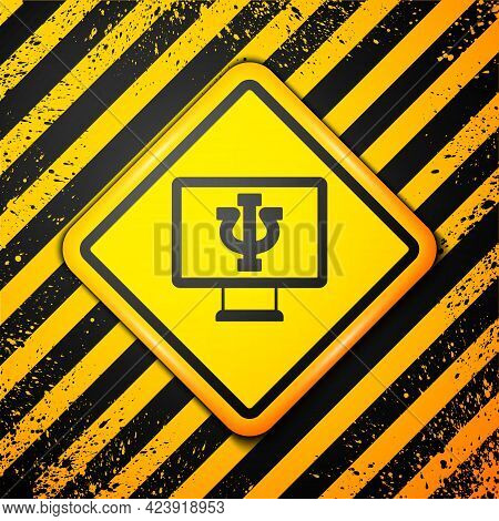 Black Online Psychological Counseling Distance Icon Isolated On Yellow Background. Psychotherapy, Ps