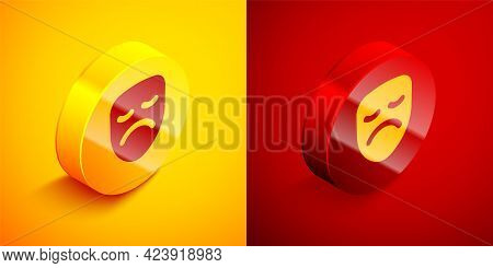 Isometric Drama Theatrical Mask Icon Isolated On Orange And Red Background. Circle Button. Vector