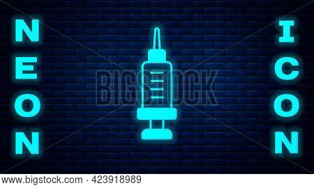 Glowing Neon Addiction To The Drug Icon Isolated On Brick Wall Background. Heroin, Narcotic, Addicti