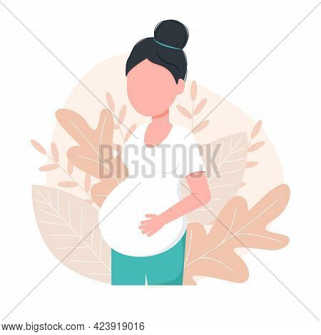Pregnant Young Woman Is Expecting A Baby. Pregnancy Concept. Family And Motherhood Concept. Vector I