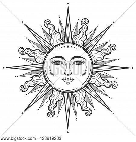 Beautiful Elegant Sun Face Symbol Tattoo Design.vector Illustration. Alchemy Symbol