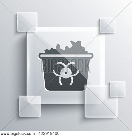 Grey Infectious Waste Icon Isolated On Grey Background. Tank For Collecting Radioactive Waste. Dumps