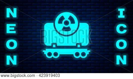 Glowing Neon Radioactive Cargo Train Wagon Icon Isolated On Brick Wall Background. Freight Car. Rail