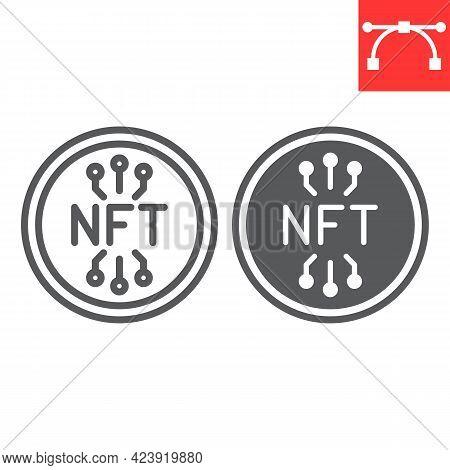 Nft Coin Line And Glyph Icon, Unique Token And Blockchain, Non Fungible Token Vector Icon, Vector Gr