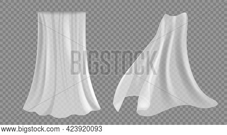 Set Of Isolated Curtain, Tulle On Transparent. White Curtains, Transparent Tulle For A Door Or Windo