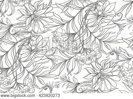 Seamless Pattern, Background With Decorative Flowers In Art Nouveau Style, Vintage, Old, Retro Style