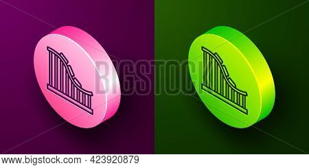 Isometric Line Roller Coaster Icon Isolated On Purple And Green Background. Amusement Park. Children