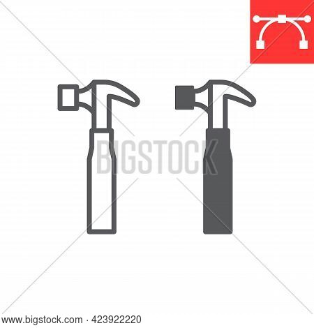 Hammer Line And Glyph Icon