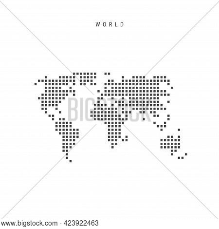 Square Dots Pattern Map Of The World. Globe Dotted Pixel Map With Flag. Vector Illustration