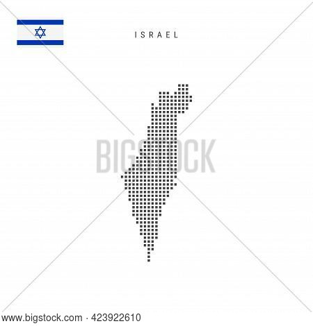 Square Dots Pattern Map Of Israel. Israeli Dotted Pixel Map With National Flag Isolated On White Bac