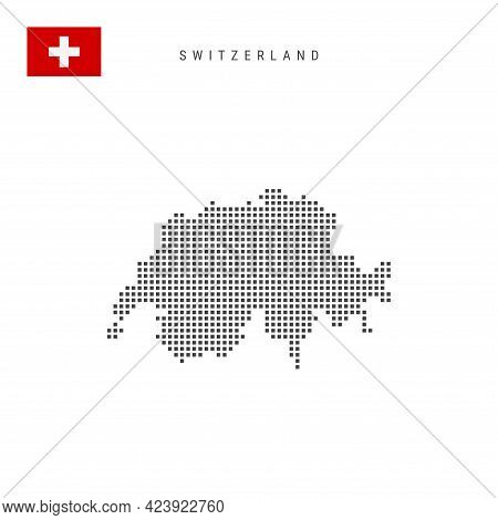 Square Dots Pattern Map Of Switzerland. Swiss Dotted Pixel Map With National Flag Isolated On White