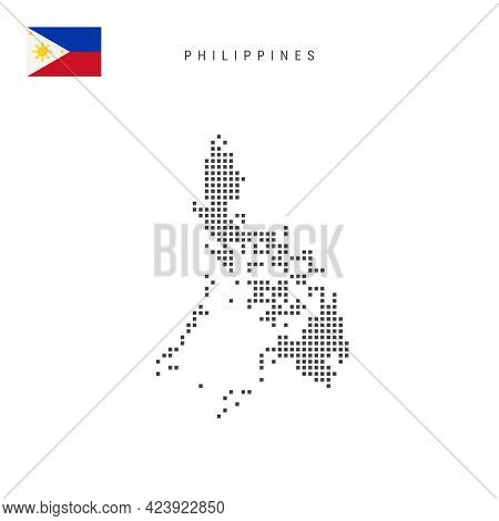 Square Dots Pattern Map Of Philippines. Philippine Dotted Pixel Map With National Flag Isolated On W