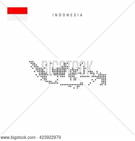 Square Dots Pattern Map Of Indonesia. Indonesian Dotted Pixel Map With National Flag Isolated On Whi