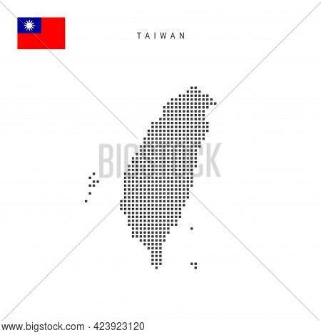 Square Dots Pattern Map Of Taiwan. Taiwanese Dotted Pixel Map With National Flag Isolated On White B