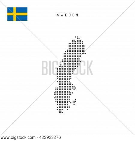 Square Dots Pattern Map Of Sweden. Swedish Dotted Pixel Map With National Flag Isolated On White Bac