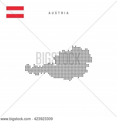 Square Dots Pattern Map Of Austria. Austrian Dotted Pixel Map With National Flag Isolated On White B