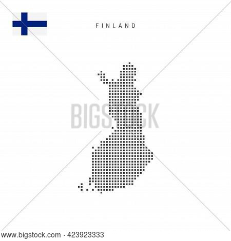 Square Dots Pattern Map Of Finland. Finnish Dotted Pixel Map With National Flag Isolated On White Ba