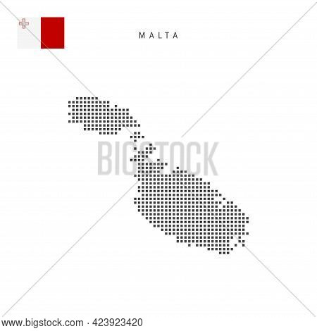 Square Dots Pattern Map Of Malta. Maltese Dotted Pixel Map With National Flag Isolated On White Back