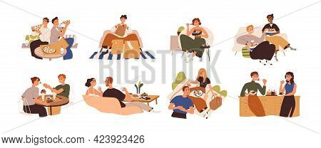 Set Of People Eating Food At Home, Cafe And Outdoors. Men And Women Relaxing And Enjoying Delivered