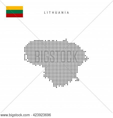 Square Dots Pattern Map Of Lithuania. Lithuanian Dotted Pixel Map With National Flag Isolated On Whi