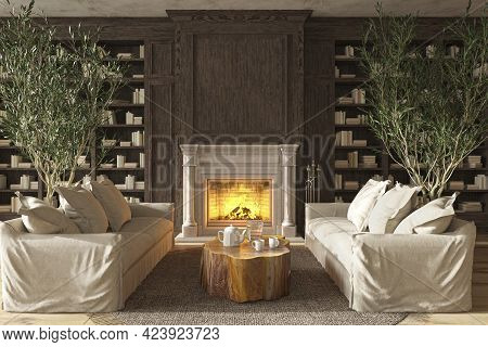 Scandinavian Farmhouse Style Living Room Interior With Bookshelf And Fireplace, Mock Up, 3d Render I