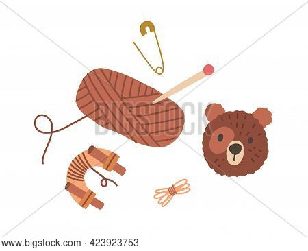 Pompom Animal Toy, Yarn Skein, Threads And Pins. Making Pom-pom Bear. Composition With Handwork And