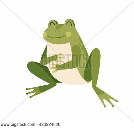 Cute Happy Frog Sitting, Holding Paws On Full Tummy. Funny Well-fed Froglet. Childish Colored Flat V