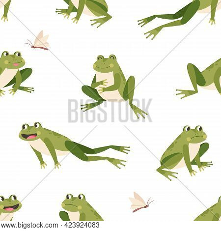 Seamless Childish Pattern With Cute Green Frogs In Different Poses On White Background. Printable Re
