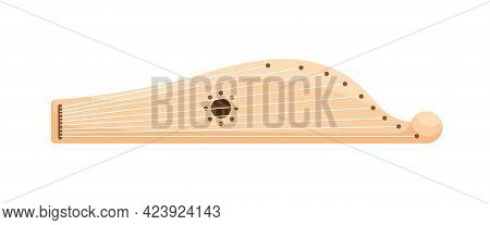 Russian Gusli, Traditional Folk Slavic Plucked Music Instrument With Strings. Colored Flat Vector Il