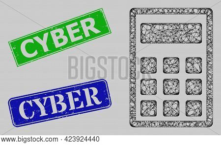 Wireframe Net Mesh Calculator Model, And Cyber Blue And Green Rectangular Textured Seals. Frame Net