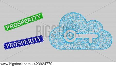 Carcass Net Mesh Cloud Key Model, And Prosperity Blue And Green Rectangular Scratched Seals. Frame N