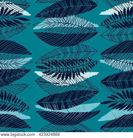 Seamless Pattern With Tropical Leaves In Retro 1970s Style. Vector Illustration On Blue Backgroud