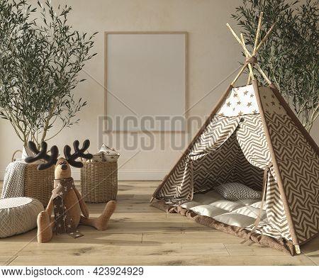 Children Room Interior Scandinavian Style With Natural Wooden Furniture. Mock Up Frame On Wall Backg