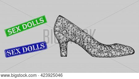 Carcass Net Mesh Lady Shoe Model, And Sex Dolls Blue And Green Rectangular Corroded Stamps. Carcass