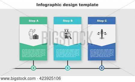 Set Tourist With Suitcase, Lost Baggage And Plane. Business Infographic Template. Vector