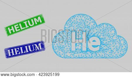Wireframe Net Mesh Helium Gas Model, And Helium Blue And Green Rectangular Grunge Stamp Seals. Carca