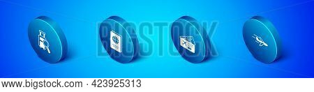 Set Isometric Lost Baggage, Airline Ticket, Plane And Passport Icon. Vector