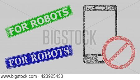 Wireframe Network Deny Smartphone Model, And For Robots Blue And Green Rectangular Rubber Stamp Seal