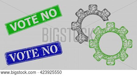 Wireframe Net Gears Model, And Vote No Blue And Green Rectangular Corroded Stamps. Frame Net Symbol