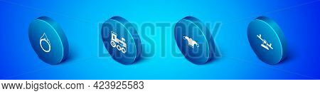 Set Isometric Circus Fire Hoop, Jester Hat With Bells, Seesaw And Toy Train Icon. Vector