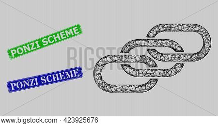 Carcass Net Chain Links Model, And Ponzi Scheme Blue And Green Rectangle Rubber Seals. Frame Net Mes