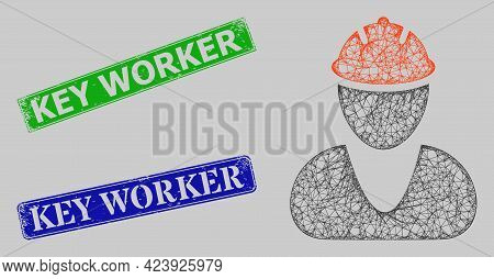 Carcass Net Mesh Worker Model, And Key Worker Blue And Green Rectangle Rubber Stamp Seals. Carcass N