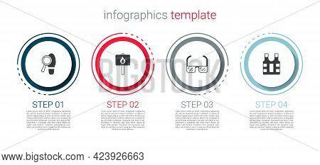 Set Footsteps, Protest, Safety Goggle Glasses And Bulletproof Vest. Business Infographic Template. V