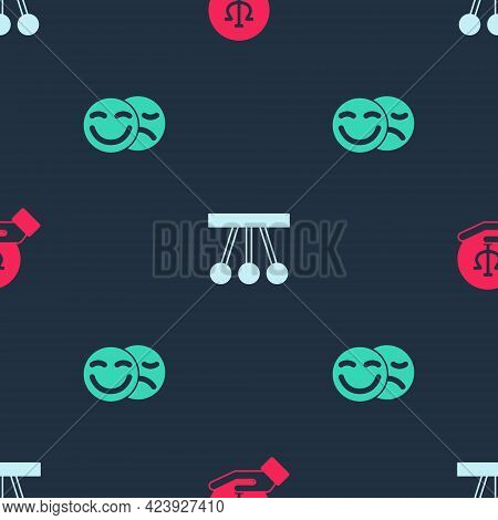 Set Psychology, Psi, Pendulum And Comedy And Tragedy Masks On Seamless Pattern. Vector