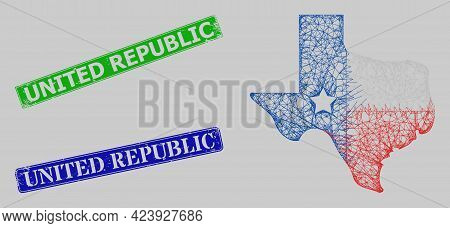 Carcass Hatched Mesh Texas Map Logo Model, And United Republic Blue And Green Rectangle Grunge Stamp